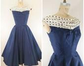 Vintage 1950s Dress / Blue Taffeta Polka Dots / Party Dress / Fancy Dress / Cocktail Dress / Prom Dress / XS