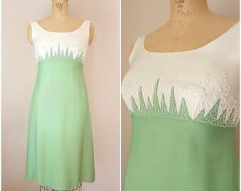 Vintage 1960s Beaded Dress / Spring Grass Dress / Medium