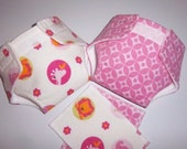 COMBO SET/Baby Doll Diapers/wipes - zoo animals, flowers; diamonds/circles  -  adjustable for many dolls, bitty baby