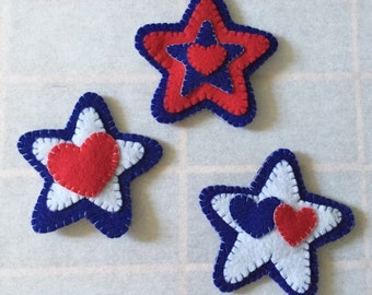 Red, White & Blue Felt Magnet Set