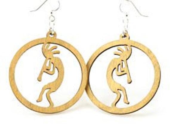 Kokopelli Wood Earrings - Laser Cut Earrings