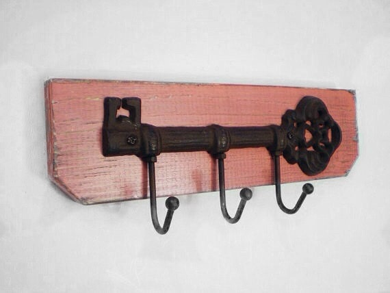 Distressed Cast  Iron Skeleton Key Hook Wall Hanger Shabby Chic / French Country-Pink Coral