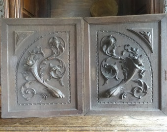 Vintage French door cupboard carved panel decor decorative wood wooden circa 1910s / English Shop