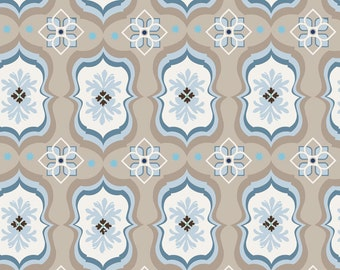 1 Yard of Capri Garden in Blue & Taupe 00272 from ADORNit