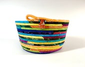 Coiled Rope Basket - Jewel Tone Hand Dyed Colors -  Organizer - Easter Basket