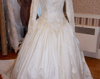 PRICE REDUCED! Epitome of the 80's All the Bling EVER Demetrios Silk Vintage Wedding Dress