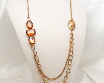 Asymmetrical Vintage Gold and  Amber Necklace