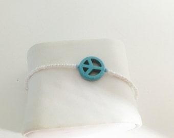 Peace Sign Bracelet, white beaded, layering, turquoise, handmade, item no H013