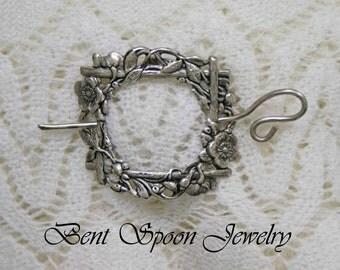 Shawl Pin, Victorian Floral Silver Shawl Pin, Scarf Pin, Shrug Closure, Sweater Pin, Kilt Pin