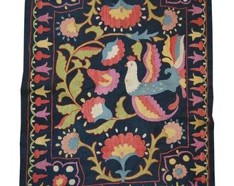 Bukhara Uzbek silk handmade embroidery   stylized birds  suzani