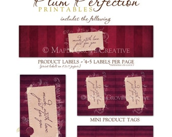 Plum Perfection Tags for Crochet, Knit, Handmade Items