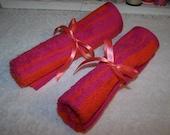 Pink and Orange Stripe Travel Towel - FREE Shipping - Travel Roll Up - Terry Towel Roll UP - Terry Travel Towel Organizer