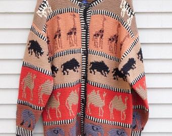 90's Safari Hand Knit Sweater Cardigan