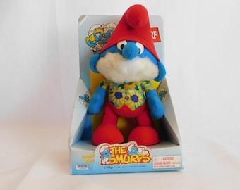 Vintage Peyo Hug A Smurf Papa Smurf Plush Doll NIP 1996