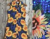Vtg 90s Sunflower Blue Button Up Collar Mini Dress