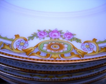Eight 8 Mieto Japan Plates Roses, green, blue, pink Great Colors!!