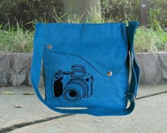 Screenprinted blue cotton canvas messenger bag, shoulder bag, travel bag, canvas diaper bag