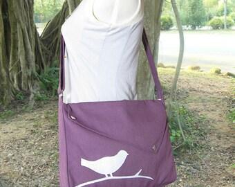Purple cotton canvas messenger bag / shoulder bag / bird messenger /diaper bag / cross body bag