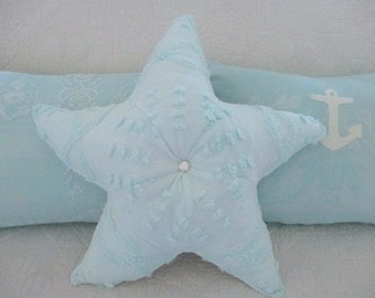 Nautical Vintage Chenille Starfish Pillow, Pale Turquoise, Mother of Pearl Button Center