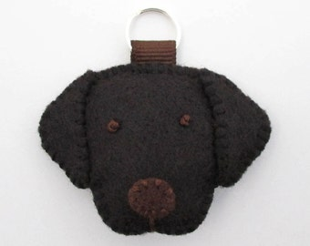 Felt Black Labrador Retriever Mini Keychain / Black Lab Zipper Charm