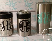 Yeti Colster Decal Monogram Yeti Cup Vinyl Decal 20oz 30oz Yeti Rambler Decal - Personalized Decals for Yeti cups