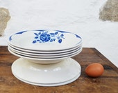 LOT of 7 vintage French Soup Bowls Digoin Sarreguemines Corsica Blue faience china porcelain roses