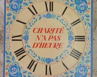 French clock face Charity Catholic Card sheep Blue Roses wall