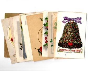 12 Antique Christmas Bells Postcards - Vintage Christmas Crafts, Scrapbooking, Decor, December Daily Supplies