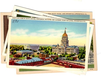 6 Vintage Springfield Illinois Unused Postcards Blank, Wedding Guestbook, Travel Journal, Scrapbooking, Collage Supplies