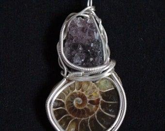Ammonite Necklace Amethyst Gem Stone