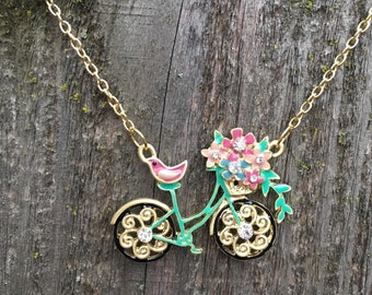 Gorgeous spring bike necklace