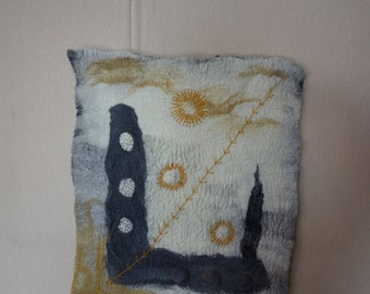 felted wallhanging embroidered felted wall hanging textured wall art felted wall art felt decor modern wall art felt hanging