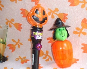 Novelty Halloween Plastic Containers. Brittle Plastic. Jack O Lantern and Witch. Novelties.