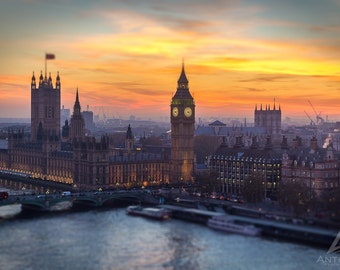 London Photography - Big Ben & Westminster at Sunset, London Art, London Print, London Skyline Photography
