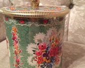 Holland Tin Loud Floral Hipster Design Made In England Beautiful Collection Piece Turquoise Tin Make Up Case Golden Tin