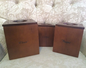 Rustic Wooden Canisters With Matching Scoop Flour Sugar And Coffee. Rustic Kitchen Canister Set Of Three