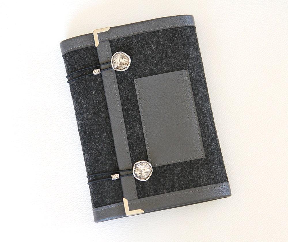 Smoked Gray Felt Ring Binder Agenda/ Planner Cover