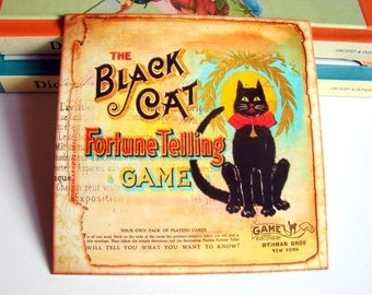Small Ready to Frame Print - Black Cat Fortune Telling Game Vintage Box Cover Victorian Vintage Style Home Decor