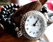 Petite size Black Onyx and Silver Plated Stretch Watch Band