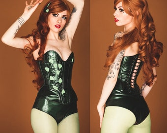 "XS/S Poison IVY 23"" overbust corset and high waisted underwear (steel boned) Artifice (ready to ship)"