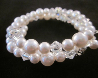 Bridal Bracelet, Memory Wire Bracelet, Swarovski Pearls and Crystals, Bride, Bridesmaid, Prom, Pageant, Party, Wedding, SRAJD