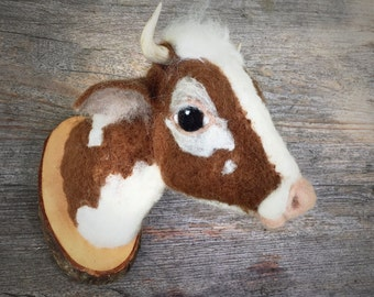 Needlefelted cow- faux fauna by feltfactory- cruelty free- faux taxidermy