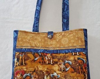 Tote bag with Western Theme and Dogs