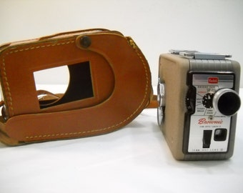 Vintage Kodak Brownie 8mm Movie Camera And Leather Case