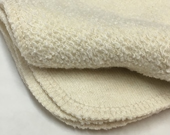Hemp French Terry Organic Wipes, 9x9, Set of 6, Face Washcloths, Dishcloths, Pick your edge color