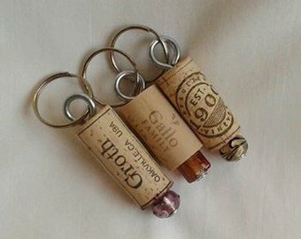 Cork Key Chains / Lampwork Beads / For Her / For Him / Unique Gift / Gallo / Up Cycled / Recycled Gift