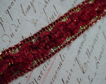 Vintage French Chenille and Metallic Gold Lurex Trim, one yard