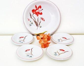 Vintage Bread and Butter Plates / German Dinnerware / Serving Dishes, Dessert Plates - Orange Flowers