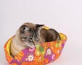 Cat Canoe Pet Bed in Orange and Purple Elephant Fabric