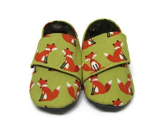 Baby Shoes, Soft Sole Baby Shoes, Toddler Slippers, Baby Booties, Fabric Shoes, Fox Baby Shoes, Unisex Baby Shoes, Baby Moccoasins, 18-24M